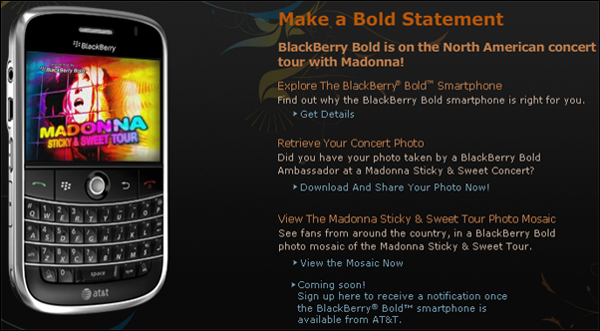 BlackBerry Bold Goes on Tour With Madonna!