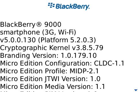 BlackBerry Bold / Curve 8900 5.0.0.130