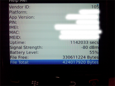 BlackBerry Bold 9650 Help Me! Screen