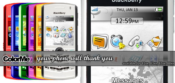 Color youur BlackBerry with Color Me Themes