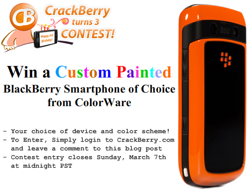 Win a ColorWare BlackBerry Smartphone!