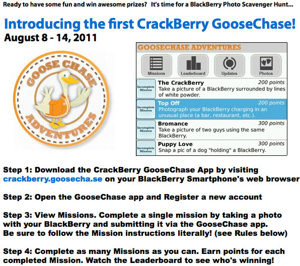 Win a BlackBerry 7 Smartphone and More in the first ever CrackBerry GooseChase!
