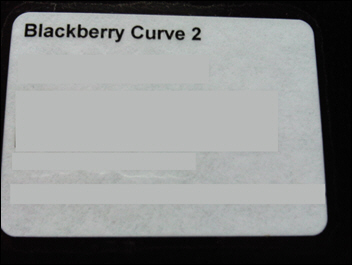 BlackBerry Curve 2 Box label