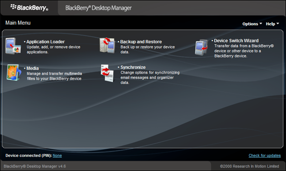 BlackBerry Desktop Manager v4.6