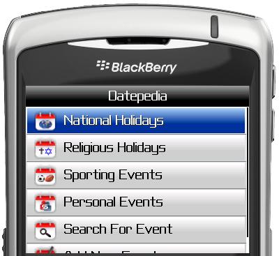 Datepedia for BlackBerry Smartphones