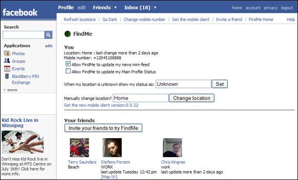FindMe Application for Facebook