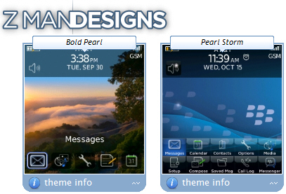 FREE Bold and Storm Themes for the BlackBerry Pearl