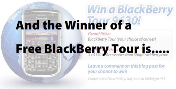Free BlackBerry Tour Winner!