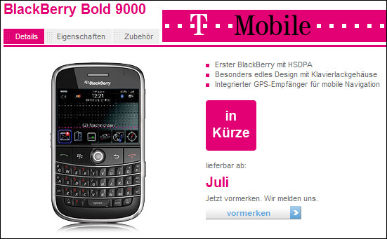 BlackBerry Bold Coming to T-Mobile Germany on July 21st?