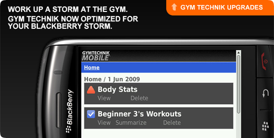 Gym Technik Gets Updated for the BlackBerry Storm