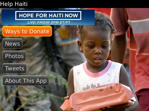 Help Haiti App for BlackBerry Smartphones