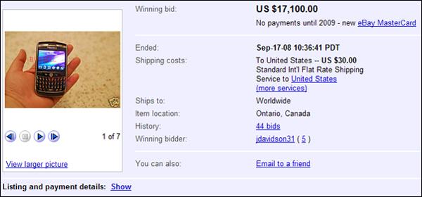 BlackBerry Javelin on eBay Sells for $17,100USD.