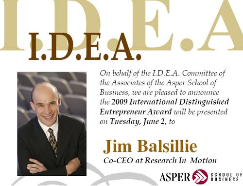 Jim Ballsillie to receive 2009 I.D.E.A Award