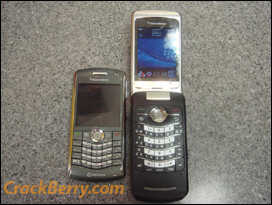 Side by side, BlackBerry Pearl 8120 and the KickStart 8220. Both pack WiFi. Note the recessed area around the KickStart's trackball