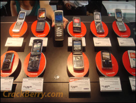 The BlackBerry KickStart among a sea of flip phones