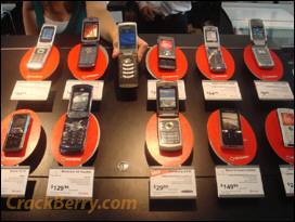 The BlackBerry KickStart among a sea of flip phones