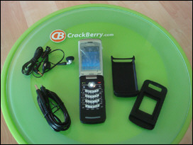 BlackBerry KickStart with Micro USB charge cables, skin, and wired microphone