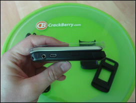KickStart Side View: lanyard whole, mute key, 3.5mm headphone jack, Micro USB charging port and left side convenience key