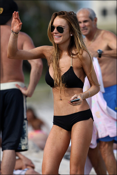 Lindsay Lohan With Her Bikini and Bold!