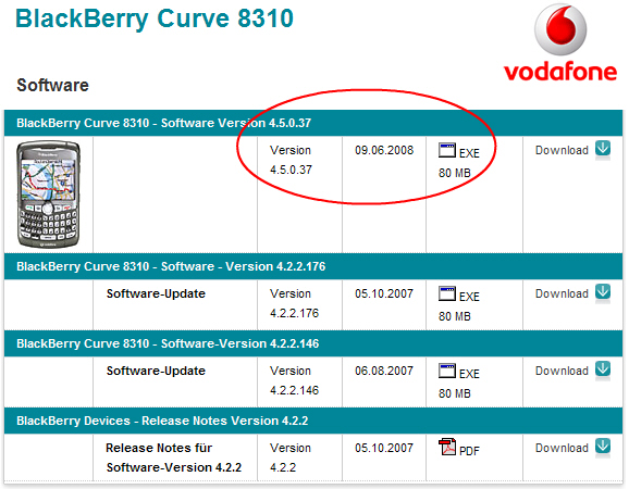 OS Version 4.5.0.37 Available from Vodafone