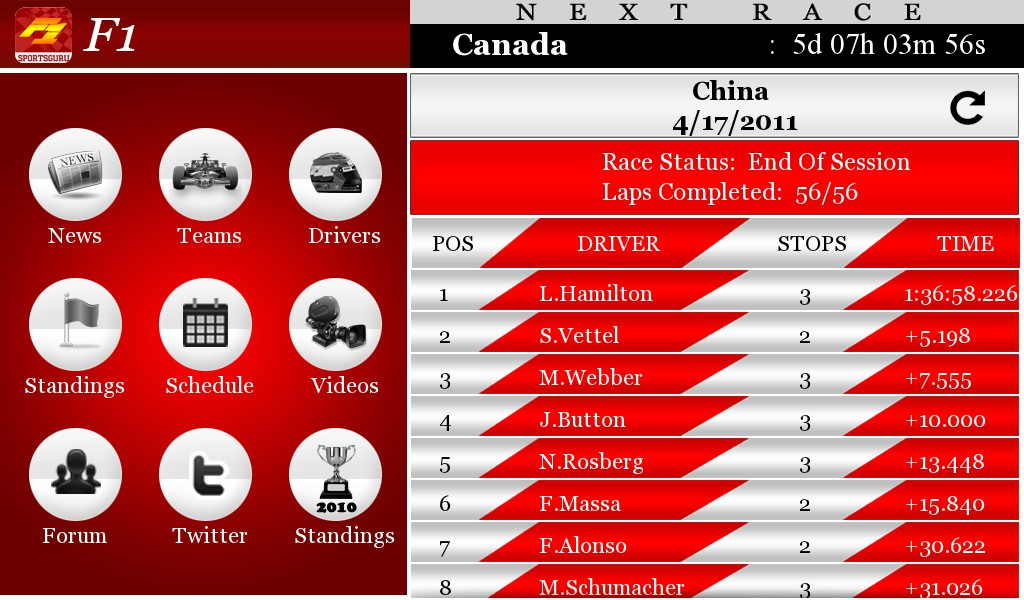 F1 Live for the BlackBerry PlayBook