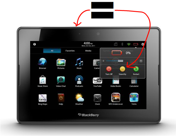 BlackBerry PlayBook: Stand By and Power Button are the same thing