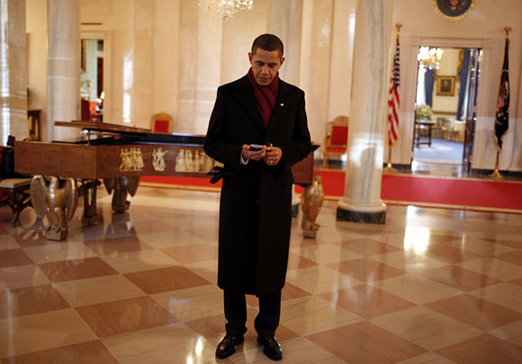 President Obama on his BlackBerry