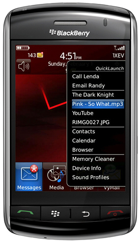QuickLaunch v1.2 for the BlackBerry Storm