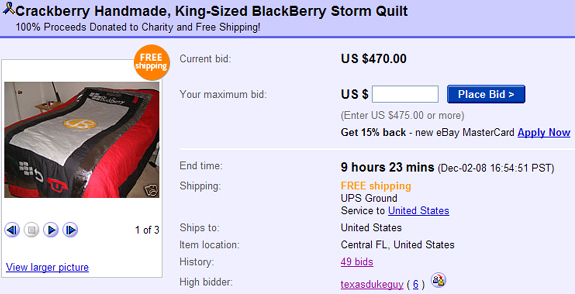 Last Chance to Bid on the BlackBerry Storm Quilt!!
