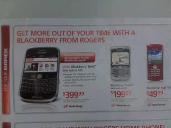 Rogers BlackBerry Bold Pricing