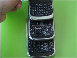 T to B: Curve 8900, Tour, Bold. RIM has nailed it with the Tour's keyboard. My new favorite.