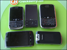The Fuze lost in a sea of BlackBerry smartphones.