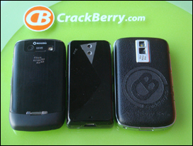 Curve 8900 left; BlackBerry Bold right. The Fuze is narrow in comparison with slider closed.