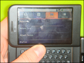 A look at the Address Book. Simple and clean. Shortcuts work with the keyboard pulled out.