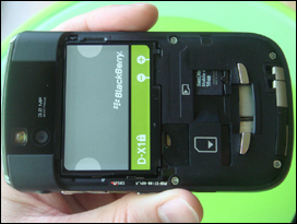 Same battery as the Storm and Curve 8900. No need to remove the battery to access the memory card.