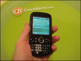 The Palm Treo Pro is a compact unit and fits nicely in the hand.