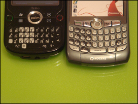 The Treo Pro's full qwerty keyboard is so small it's almost too small.