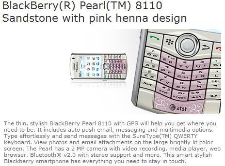 Sandstone BlackBerry Pearl 8110 with pink henna design