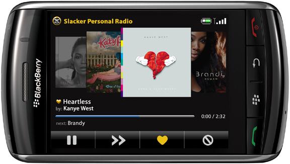 Slacker Updated for the BlackBerry Storm