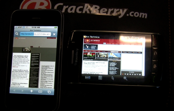 iPhone 3G vs. BlackBerry Storm Browser Speed Test