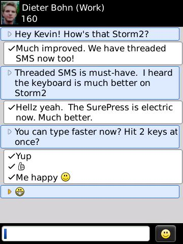 BlackBerry Storm2 SMS