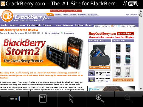 BlackBerry Storm2 Web Browser