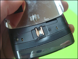 Close up of the BlackBerry Storm2's door latch mechanism. It seems to work well.