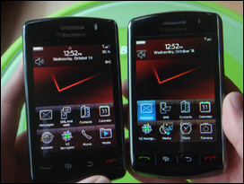 The BlackBerry Storm2 (left) vs. the original BlackBerry Storm (right).