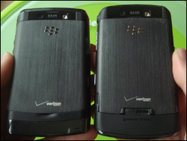 The BlackBerry Storm2 is on the left; Storm1 on the right.
