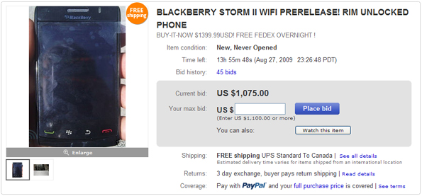 BlackBerry Storm 2 on Ebay