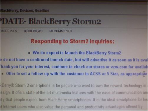 BlackBerry Storm2 Release Date