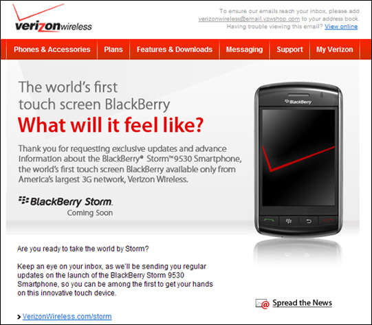 Verizon BlackBerry Storm Newsletter