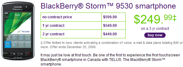 Telus BlackBerry Storm Roundup
