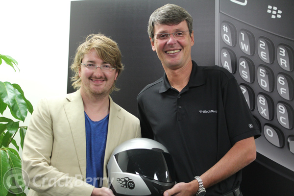 Talking style after the interview: My long hair and Heins' awesome motorcycle helmet